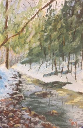 Winter at Shull Run, 4x5, January 2017
