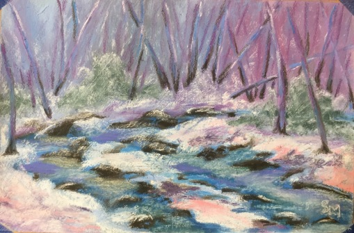 Cold Creek, 6 x 9, pastel, February 2017