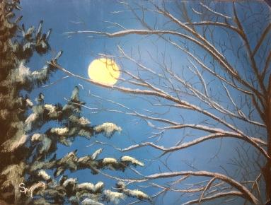 December's Full Moon, 9 x 12, pastel, February 2017