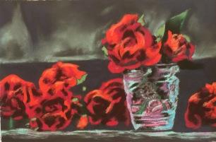 Roses 4, 7 x 10.5, pastel, February 2017