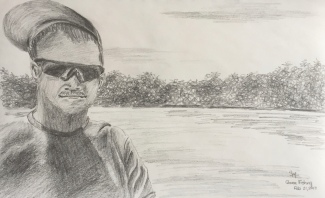 Gone Fishing, 5.25 x 8.5, Graphite, February 2017