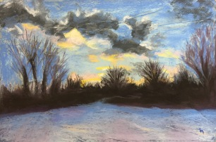 Winter Sunset, 12 x 18, March 2017