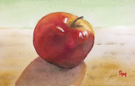 An apple a day, watercolor, 4 x 6