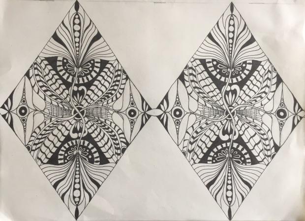 Diamonds, 9 x 12, sharpie art, April 2017