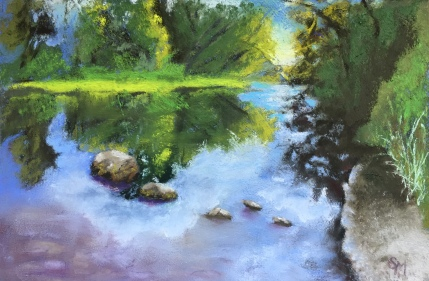 Farmington River, 6 x 9, Pastel Painting, August 2017