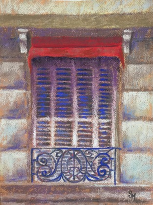 Parisian Window, 9 x 12, pastel painting, October 2017