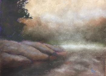 Morning Mist, 12 x 9, pastel painting, October 2017