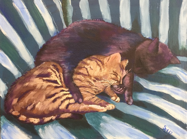 Cats in the cradle, acrylic on canvas, 9 x 12