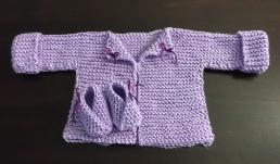 Liliana's new sweater, carson yarn, water stitch, baby wool rectangle garter baby cardigan