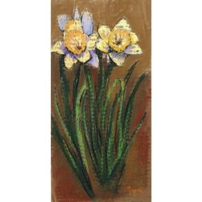 'Daffodils' 13x6.5, soft pastel on prepared cardboard, April 2019