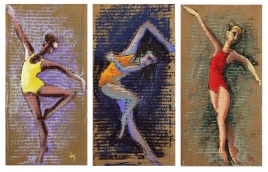 merde aux primes, 6.5 x 13 each, October 2018, soft pastel on cardboard