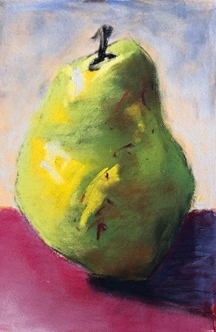 Pear 5, 4x6, pastel, March 2019