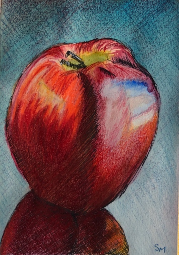 Gala 2, 4x6, pen, watercolor, colored pencil, March 2019