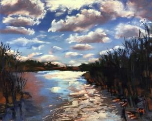 Run Softly, Blue River, 9x12, pastel, March 2019