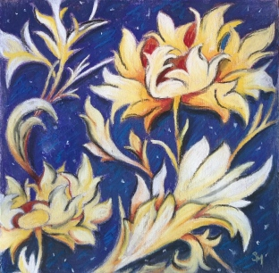 'In Bloom' 6x6, soft pastel on prepared board, March 2019
