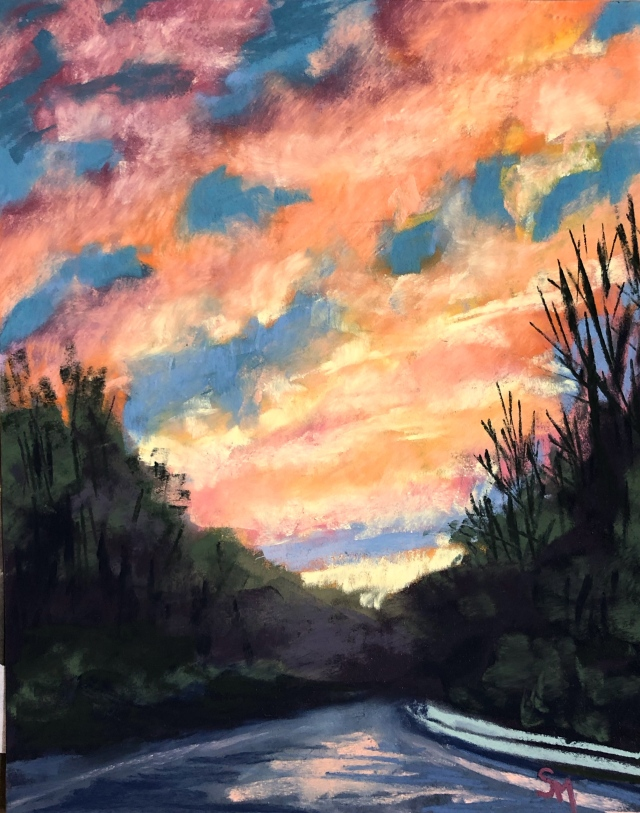 'Farmington Valley Sunset' 9x12, soft pastel on pastelmat paper, March 2019
