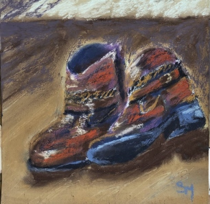 'Boots' 6x6, soft pastel on prepared paper, March 2019