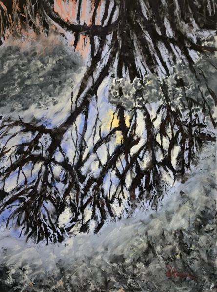 'Puddle' 9x12, soft pastels on black uart pastel paper, April 2019