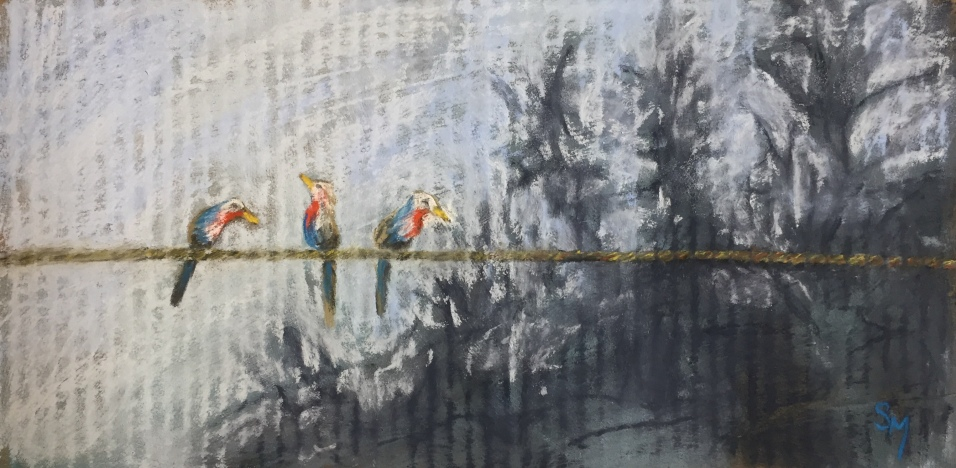 3 Birds on a Wire, 6.5 x 13, October 2018, pastel on cardboard