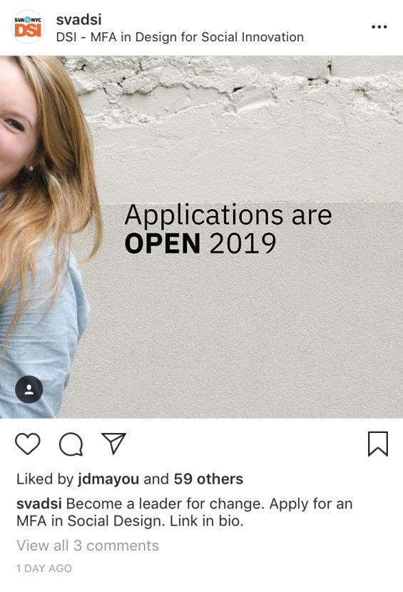 2018 DSI@SVA Applications Open Campaign