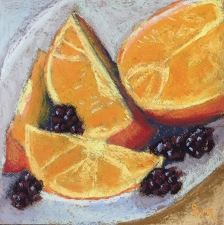 'Breakfast' 6x6, pastel painting, 18 December, 2018