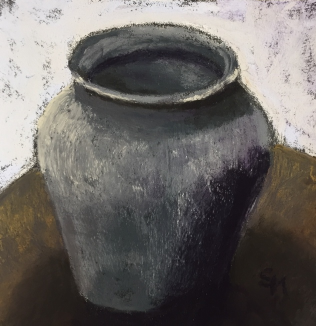 'black vase' 6x6, pastel, 19 December, 2018