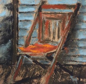 folding chair, 6x6, pastel, 22 December 2018