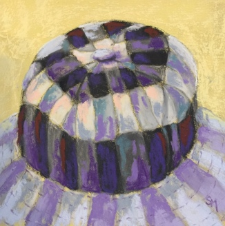 checkered hat, 6x6, pastel painting, 24 December 2018