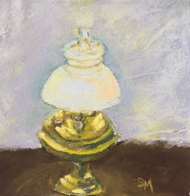 Nana's Lamp, 6x6 pastel, 26 December, 2018
