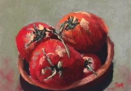 tomatoes, 5x7. pastel, 27 December, 2018