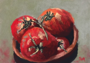 tomatoes, 5x7. pastel, 27 December, 2018