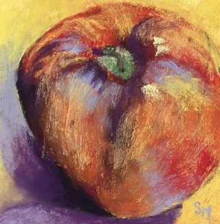 Apple, Day 3, 6x6 daily painting challenge