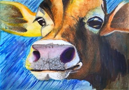 'Gretta' 9x12, watercolor, sharpie & colored pencils, April 2019