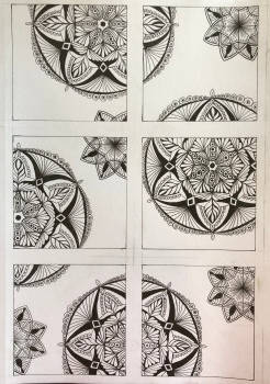 zentangles, each square is 4x4, February, March & April 2019