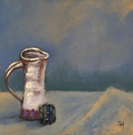 Blue - Pitcher with Glass, pastel, 6x6, 14 January, 2019