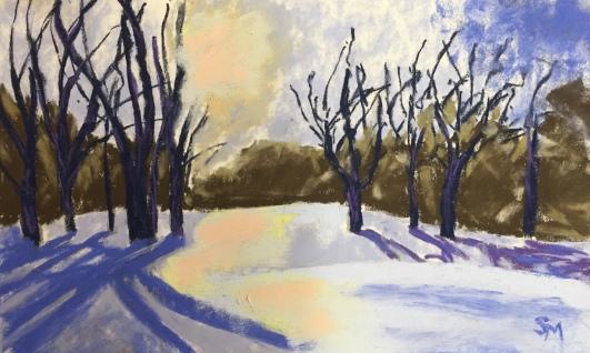 Rose Hill study, 6x9, soft pastel on pastelmat paper
