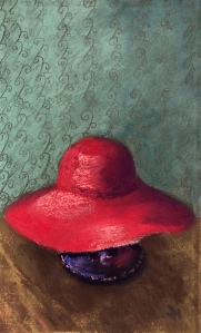 cappello rosso, 5x7 (or so) pastel painting, 4 February, 2019
